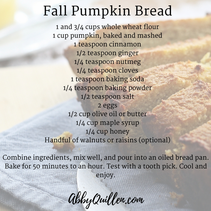 Healthy fall pumpkin bread recipe