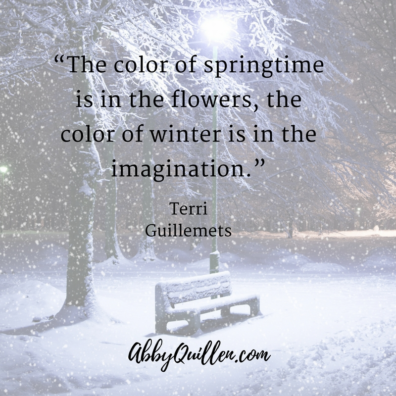 The Color of Springtime is in the flowers, the color of winter is in the imagination. Terri Guillemets #winter #seasons #coldweather